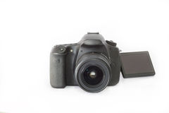 DSLR camera on a white background.  Royalty Free Stock Photo
