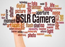 DSLR Camera word cloud and hand with marker concept. On white background royalty free stock photo