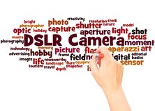 DSLR Camera word cloud hand writing concept. On white background royalty free stock photos