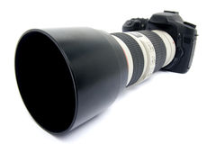 DSLR camera with zoom lens. royalty free stock images