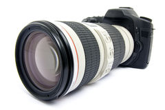 DSLR camera with zoom lens. Isolated Royalty Free Stock Photos