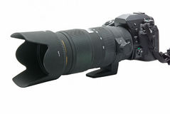 DSLR camera with zoom lens Royalty Free Stock Photography