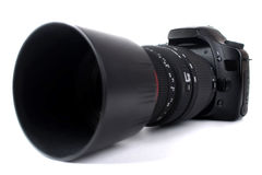 Dslr camera with zoom lens Royalty Free Stock Image
