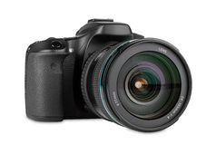 Dslr camera. With zoom lens mounted royalty free stock images