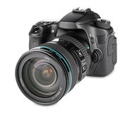 Dslr camera. With zoom lens mounted stock photography