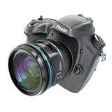 DSLR Cyfrowy fotografii kamera isolted na bielu royalty ilustracja