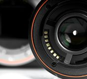 DSLR. Details of Digital Single Lens Riflex on white background Royalty Free Stock Photos