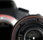 DSLR. Details of Digital Single Lens Riflex on white background Royalty Free Stock Photography