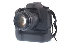 DSLR Digital Camera. Isolated black DSLR Digital Camera Royalty Free Stock Photo