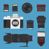 DSLR digital camera accessories. Stock Images