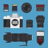 DSLR digital camera accessories.  Stock Images