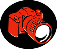 DSLR Digital Camera Front Retro. Illustration of a dslr digital camera viewed from front at a high angle set in black background done in retro style Royalty Free Stock Image