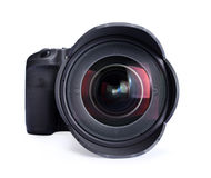 DSLR Digital Camera. A modern DSLR digital camera and lens isolated on white Royalty Free Stock Image