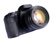 DSLR Digital Camera. A modern DSLR digital camera and lens isolated on white Royalty Free Stock Images