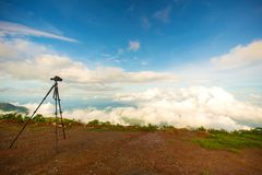 Dslr digital professional camera stand on tripod photographing mountain,. Blue sky and cloud landscape. nature background.image,picture on screen.dslr camera royalty free stock photos
