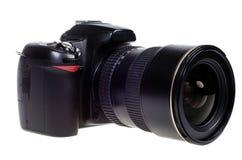DSLR digital single lens reflex camera isolated. Digital single lens reflex camera with zoom lense isolated on white background Stock Photos