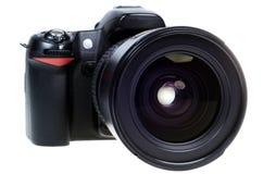 DSLR digital single lens reflex camera isolated. Digital single lens reflex camera with zoom lense isolated on white background Stock Images