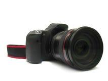 Dslr för isolerad digital kamera och lins för fotograf på vit Royaltyfri Bild
