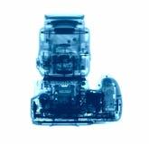 DSLR-fotocamera onder de Röntgenstralen Stock Foto