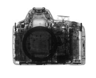 DSLR-fotocamera onder de Röntgenstralen Royalty-vrije Stock Fotografie