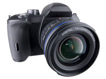 DSLR Front Angled View Wide Zoom On White Stock Image