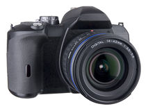 DSLR Front Angled View With Lens On White Royalty Free Stock Image