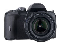 DSLR front standard zoom on white Stock Photo