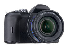 DSLR Front With Standard Zoom On White Royalty Free Stock Images