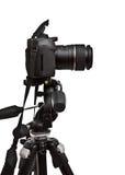 Dslr Kamera auf Stativ Stockfotografie