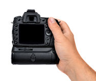 Dslr-Kamera in der Hand Lizenzfreie Stockfotografie