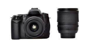 DSLR-kamera och lins royaltyfria bilder