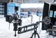 DSLR-kamera på kranen Arkivfoto
