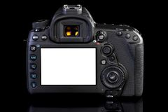 DSLR-kamera på svart glass bakgrund Royaltyfri Foto