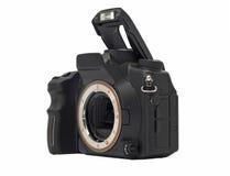 Dslr Kameragehäuse mit dem geöffneten Blinken getrennt Stockbild