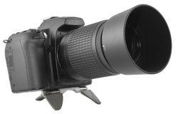 DSLR noir avec le zoom Image libre de droits