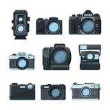 Dslr photo cameras. Vector set in cartoon style Stock Images