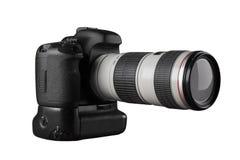 Dslr-photocamera mit Berufs-lense Seitenansicht Lizenzfreie Stockfotos