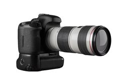 Dslr photocamera with professional lense side view Royalty Free Stock Photos