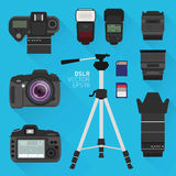 DSLR photography set. Flat vector set of photography equipment Royalty Free Stock Images