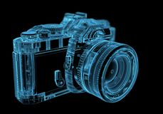 DSLR SLR camera. (3D xray blue transparent Stock Photography