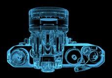 DSLR SLR camera. (3D xray blue transparent Stock Photos