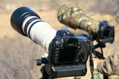 DSLR and Telephoto lens. The close-up of DSLR and Telephoto lens Royalty Free Stock Images