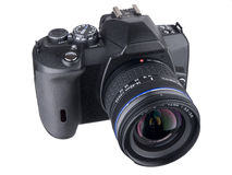 DSLR top front with standard zoom on white Stock Image