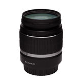 DSLR zoom lens with UV filter 18-55 mm isolated Royalty Free Stock Photos