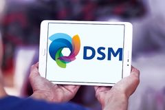 DSM company logo. Logo of DSM company on samsung tablet . DSM is a Dutch multinational active in the fields of health, nutrition and materials stock photos