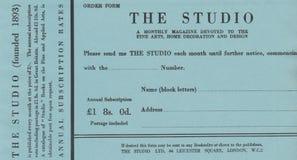 DT00054伦敦1910演播室MAGAZIN定货单 库存照片