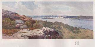 DT00078 AUSTRALIA, SYDNEY FROM VAUCLUSE, CIRCA 1910 -Water Colour Drawing by HENRY TEBBITT. AUSTRALIA, SYDNEY FROM VAUCLUSE, CIRCA 1910 -Water Colour Drawing by stock photography