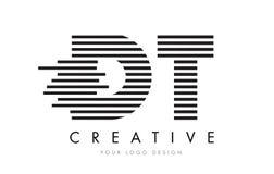 DT D T Gestreepte Brief Logo Design met Zwart-witte Strepen Stock Foto's