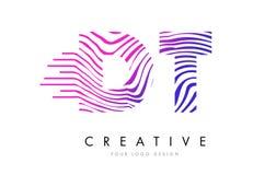 DT D T Gestreepte Lijnenbrief Logo Design met Magenta Kleuren Royalty-vrije Stock Fotografie