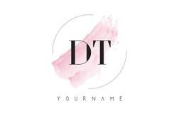 DT D T Waterverfbrief Logo Design met Cirkelborstelpatroon Stock Foto